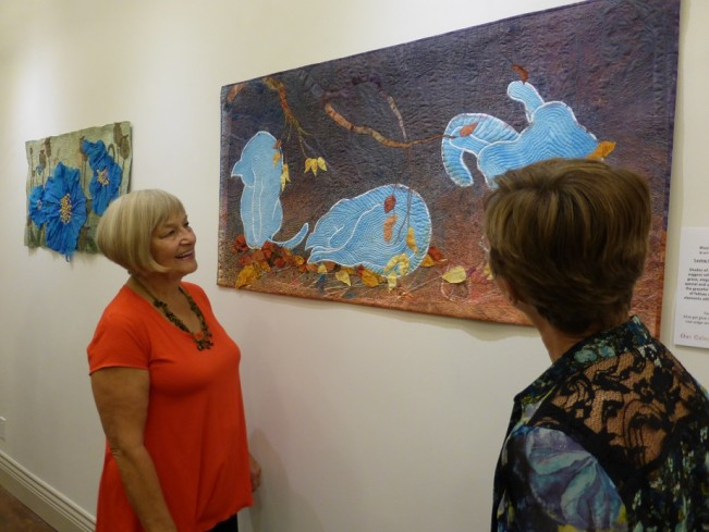 Rita Macdonnell and Darlene Chapman Fabricator with Maya Brouwer's playful cats -  Marianne Parsons